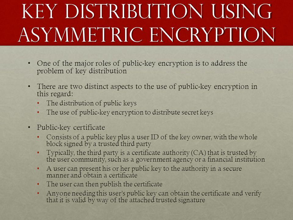 Key distribution using asymmetric encryption