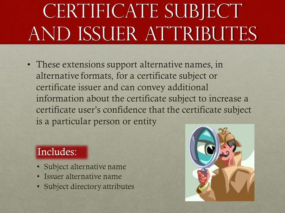 Certificate subject and issuer attributes