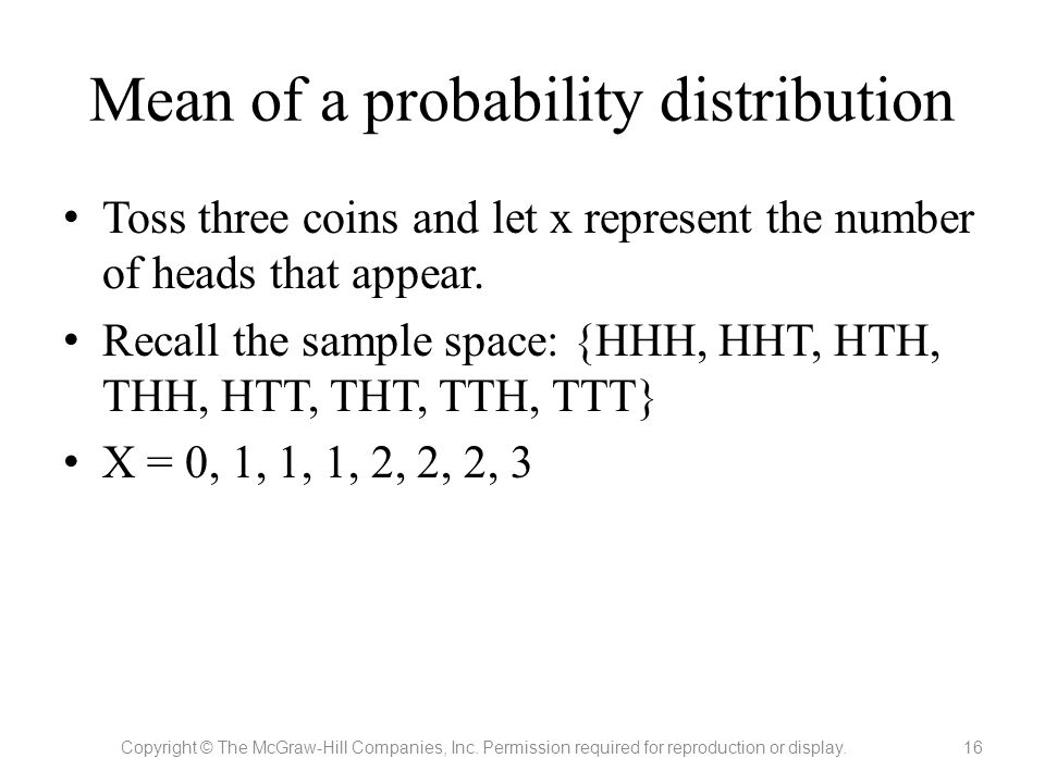 Mean of a probability distribution