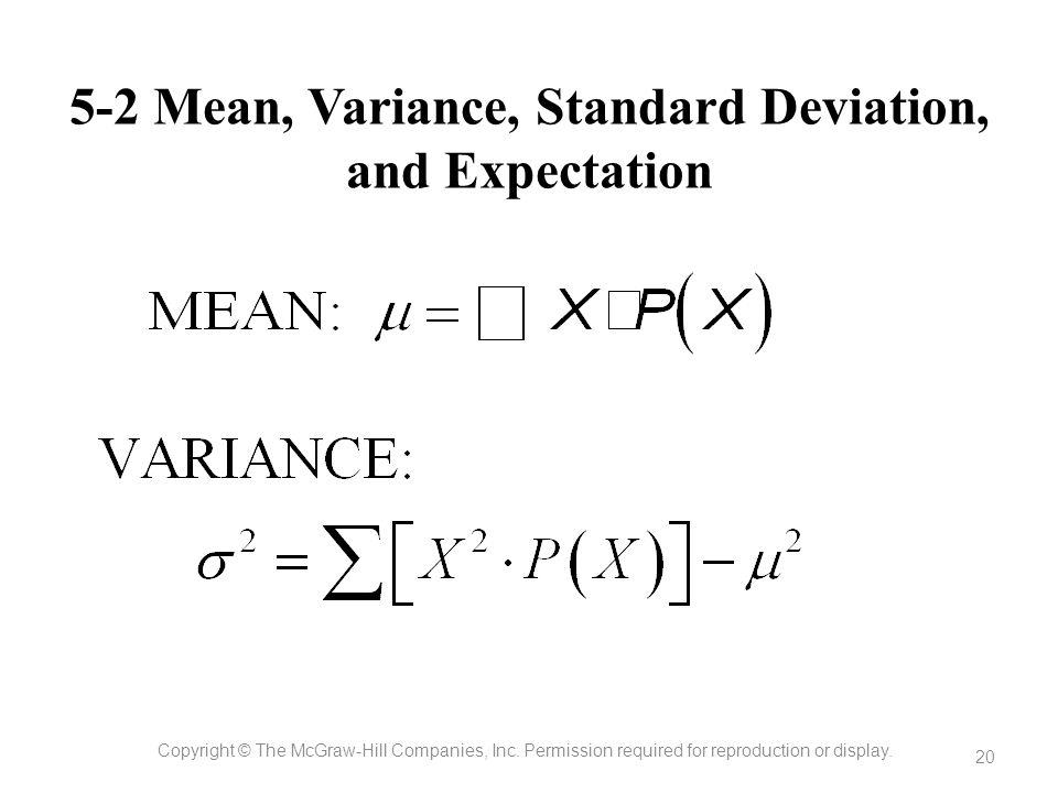 5-2 Mean, Variance, Standard Deviation, and Expectation