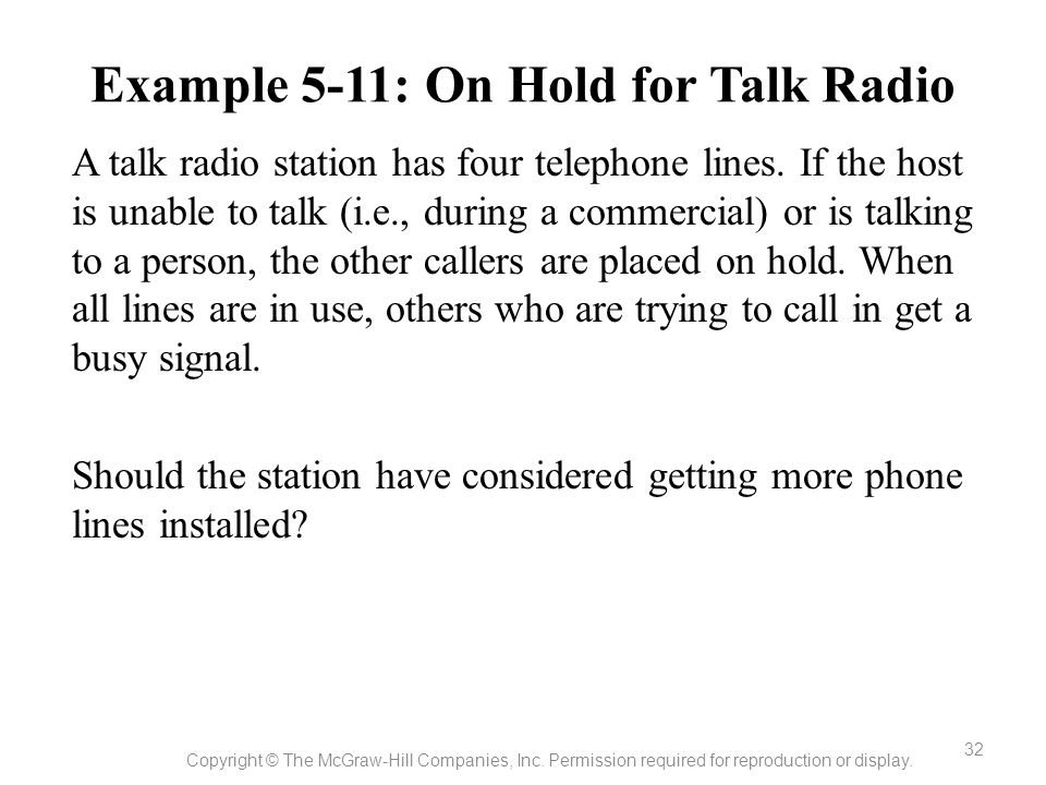 Example 5-11: On Hold for Talk Radio