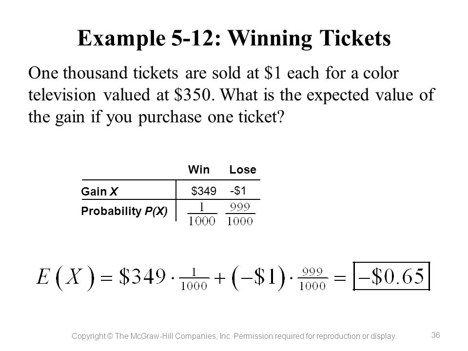 Example 5-12: Winning Tickets