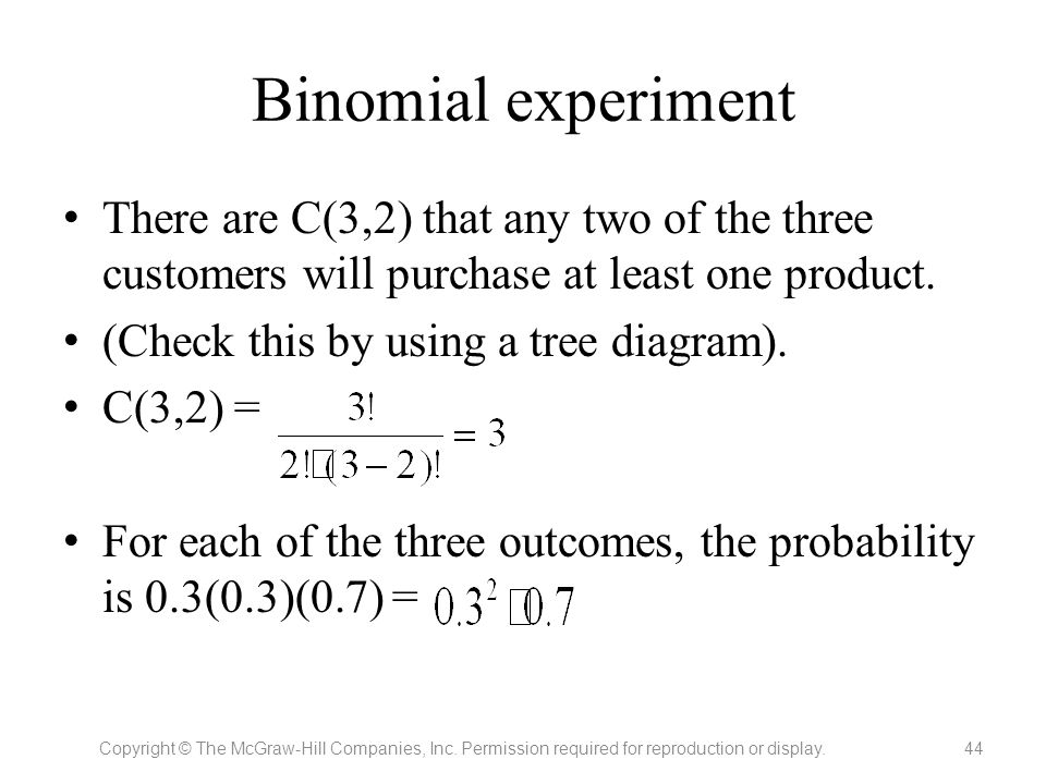 Binomial experiment There are C(3,2) that any two of the three customers will purchase at least one product.
