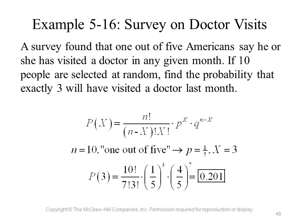 Example 5-16: Survey on Doctor Visits