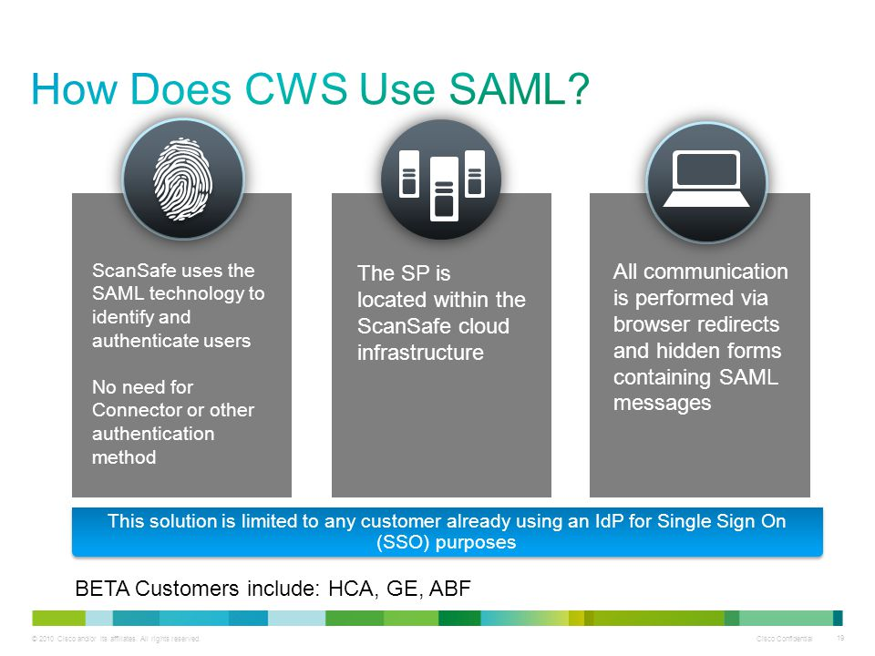 How Does CWS Use SAML ScanSafe uses the SAML technology to identify and authenticate users. No need for Connector or other authentication method.