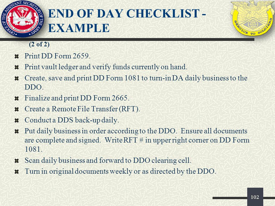 END OF DAY CHECKLIST - EXAMPLE