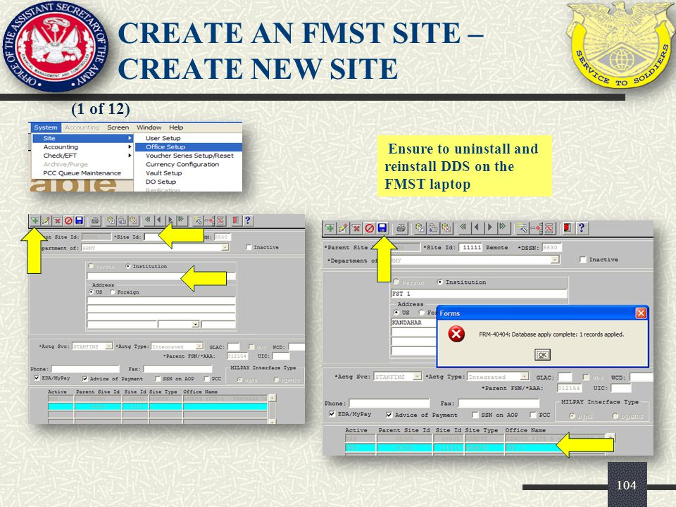 CREATE AN FMST SITE – CREATE NEW SITE