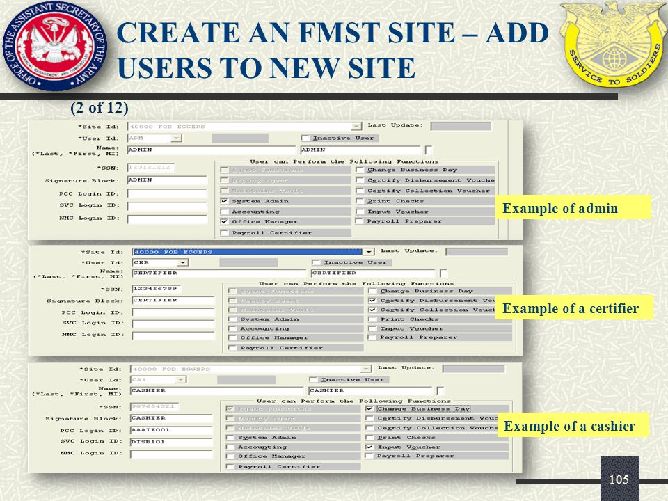 CREATE AN FMST SITE – ADD USERS TO NEW SITE