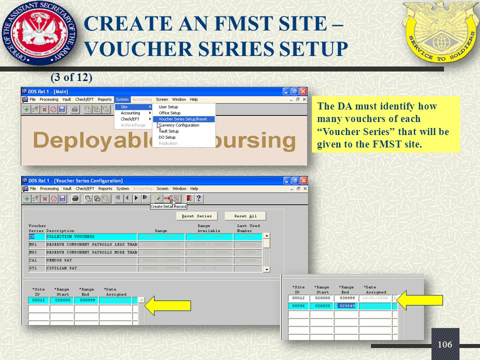 CREATE AN FMST SITE – VOUCHER SERIES SETUP