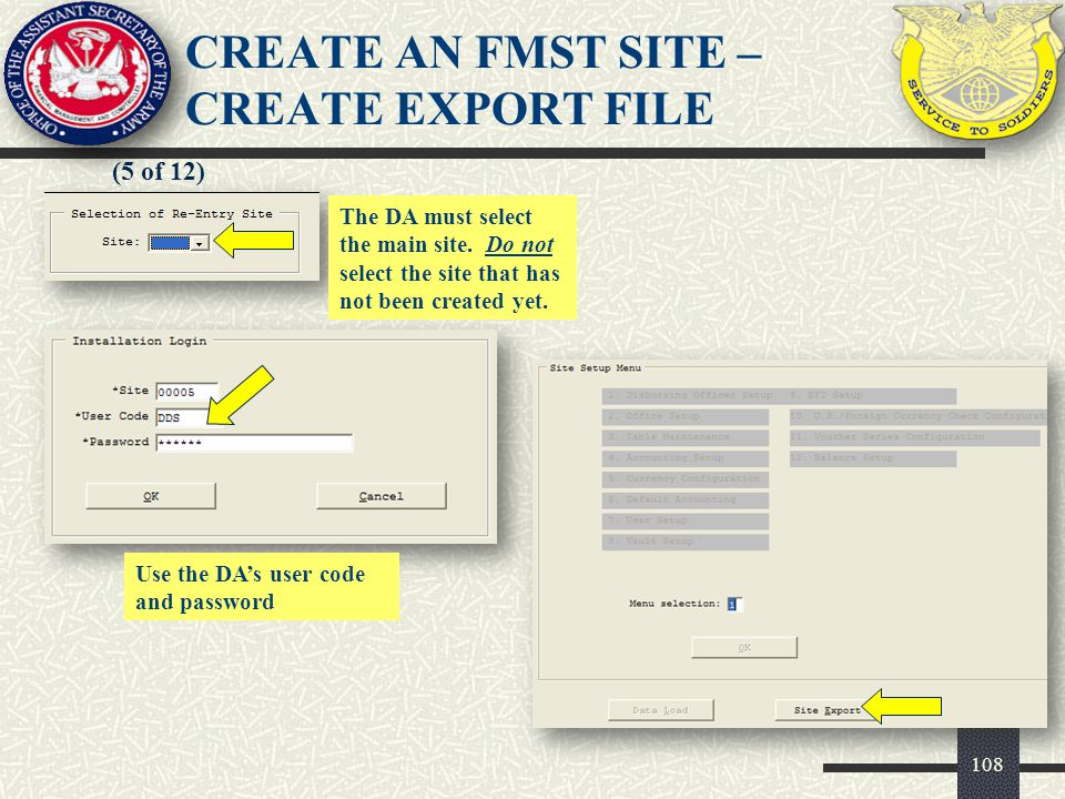CREATE AN FMST SITE – CREATE Export FILE