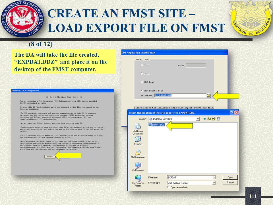 CREATE AN FMST SITE – LOAD EXPORT FILE ON FMST
