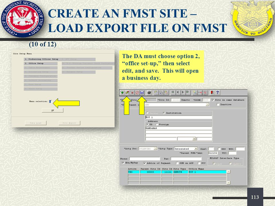 CREATE AN FMST SITE – LOAD EXPORT FILE ON FMST