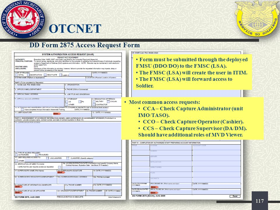 OTCnet DD Form 2875 Access Request Form