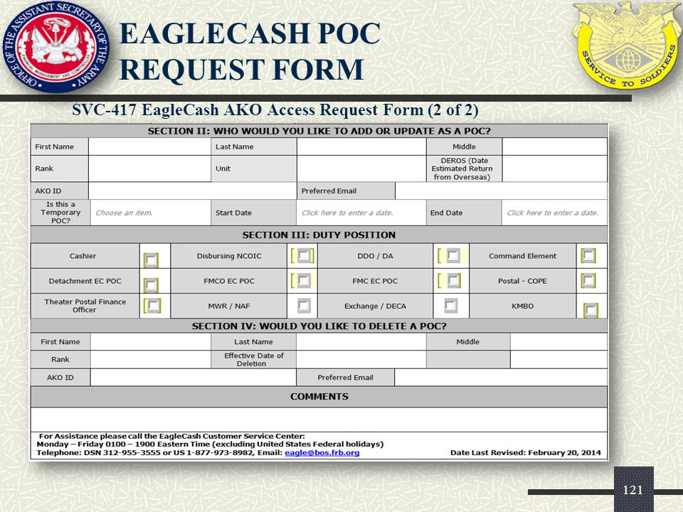 EAGLECASH POC REQUEST FORM
