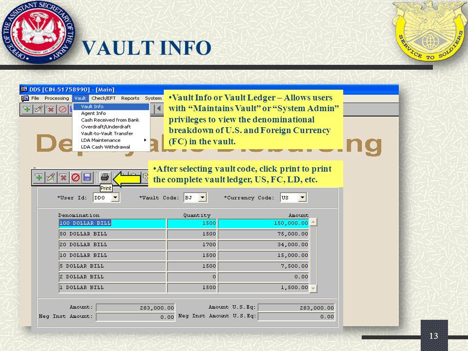 VAULT INFO