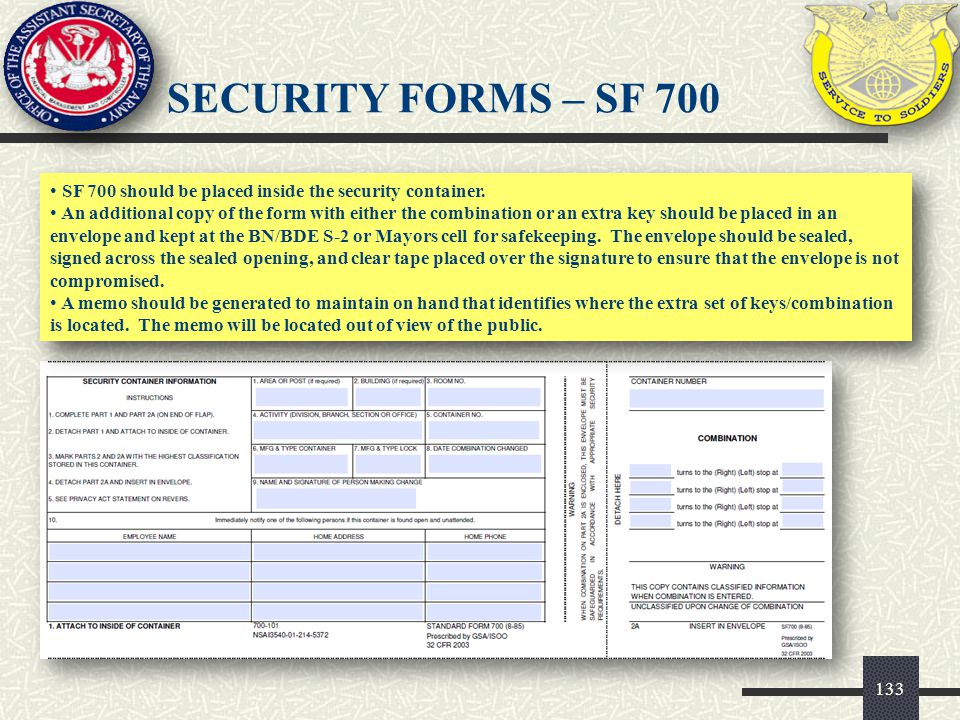 SECURITY FORMS – SF 700 SF 700 should be placed inside the security container.