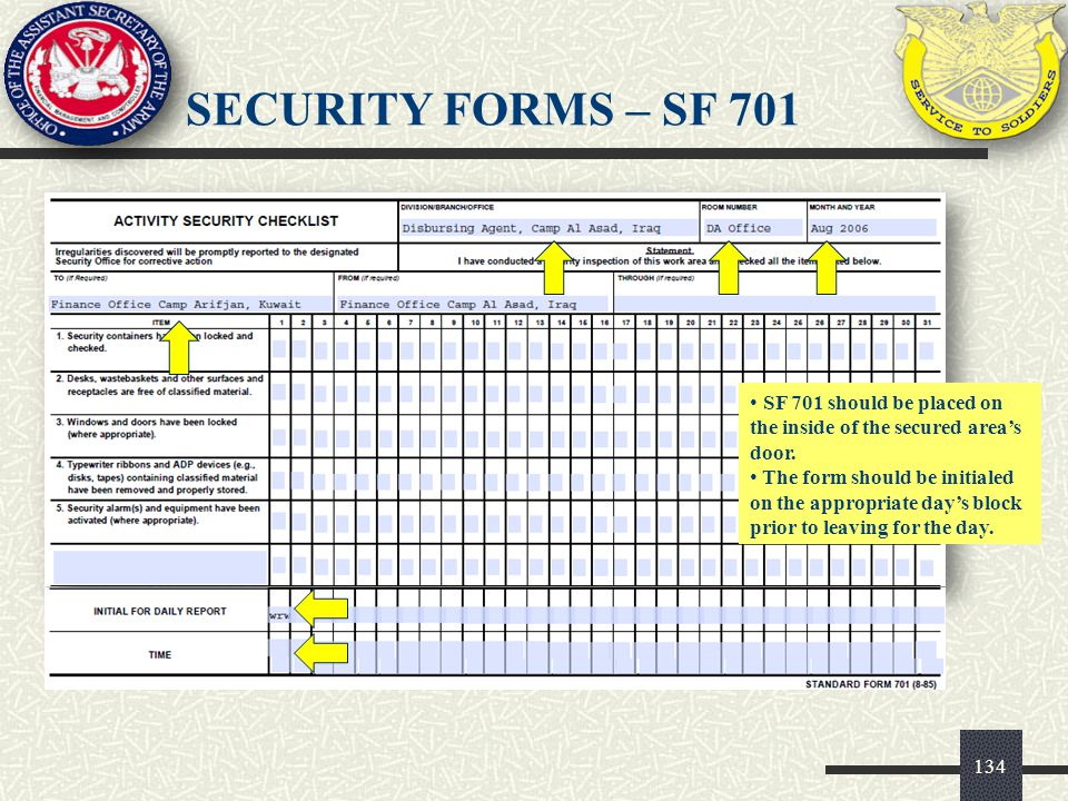 SECURITY FORMS – SF 701 SF 701 should be placed on the inside of the secured area's door.
