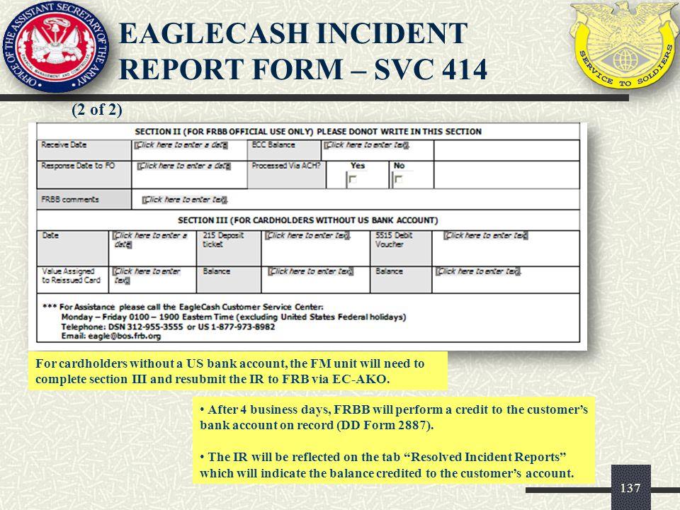 EAGLECASH INCIDENT REPORT FORM – SVC 414