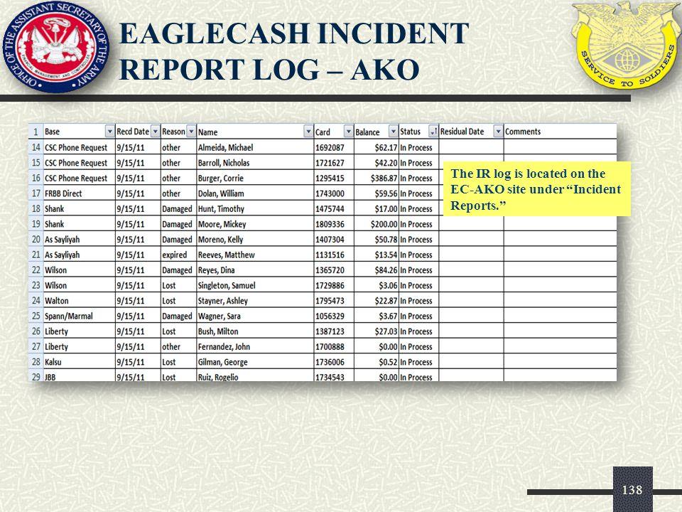 EAGLECASH INCIDENT REPORT LOG – AKO