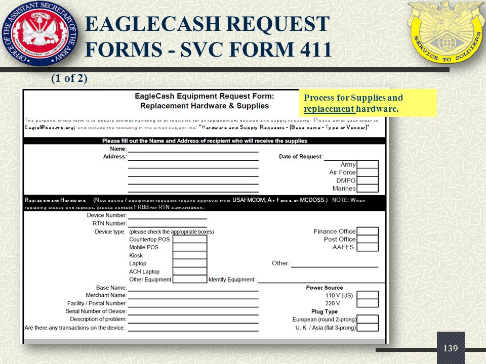 EAGLECASH REQUEST FORMS - SVC FORM 411