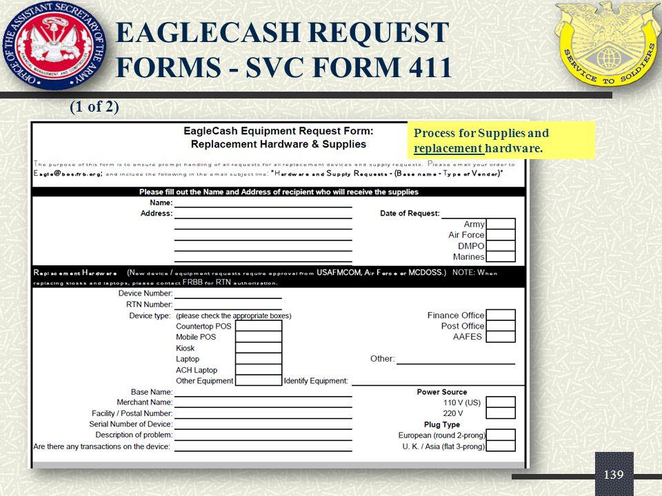 EAGLECASH REQUEST FORMS - SVC FORM 411