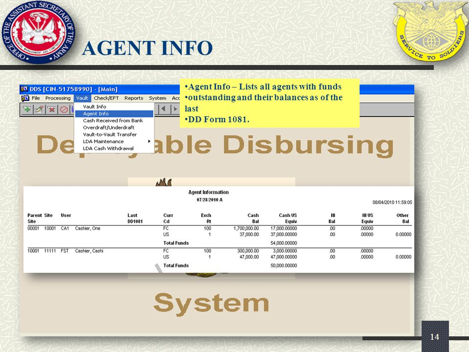 AGENT INFO Agent Info – Lists all agents with funds