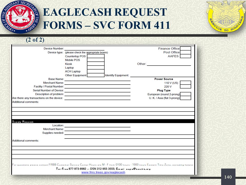 EAGLECASH REQUEST FORMS – SVC FORM 411