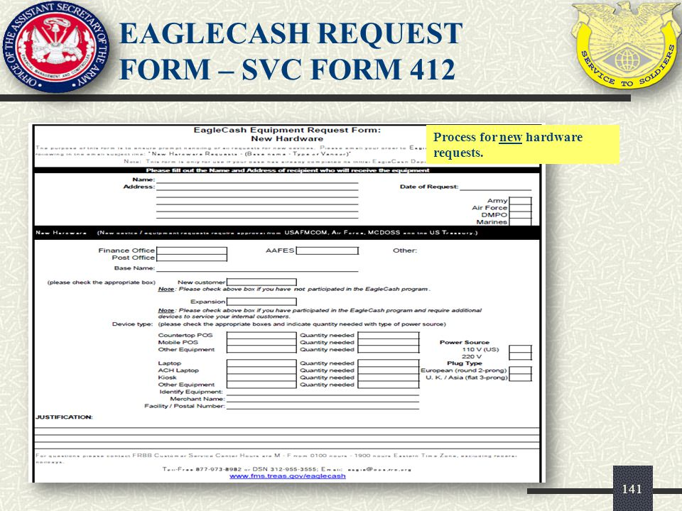EAGLECASH REQUEST FORM – SVC FORM 412