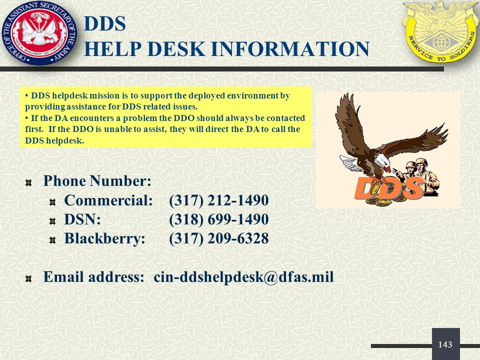 DDS HELP DESK INFORMATION