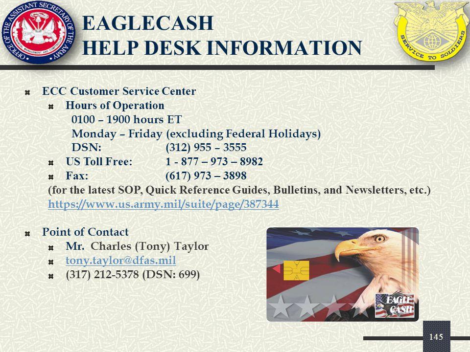 EAGLECASH HELP DESK INFORMATION