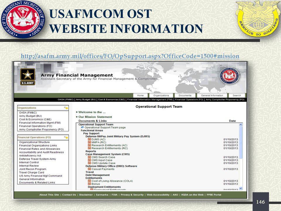 USAFMCOM OST WEBSITE INFORMATION
