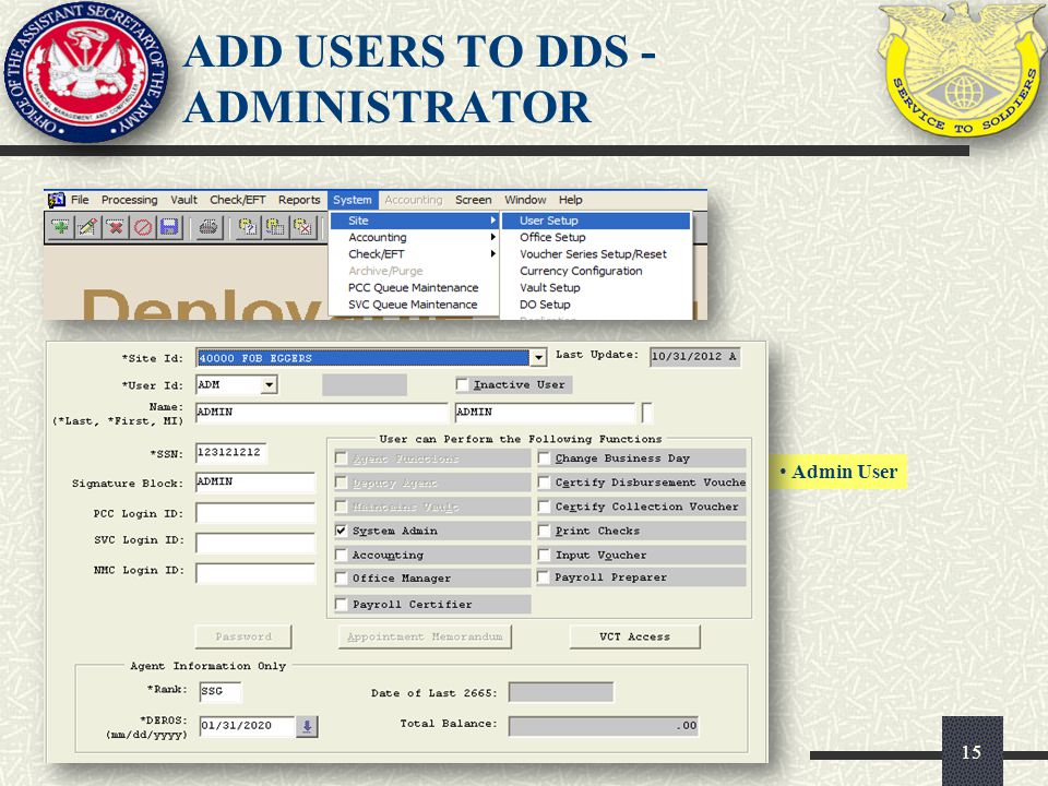 ADD USERS TO DDS - ADMINISTRATOR