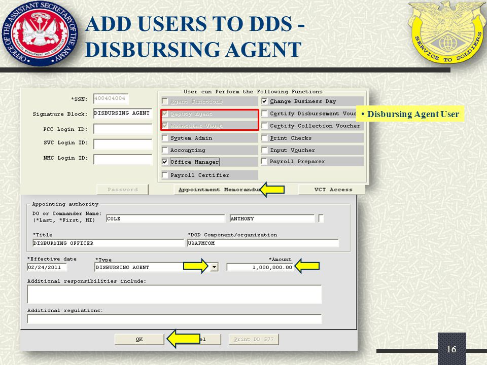 ADD USERS TO DDS - DISBURSING AGENT