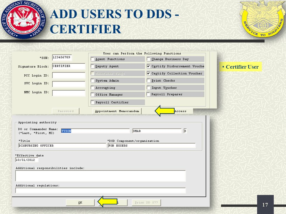ADD USERS TO DDS - CERTIFIER