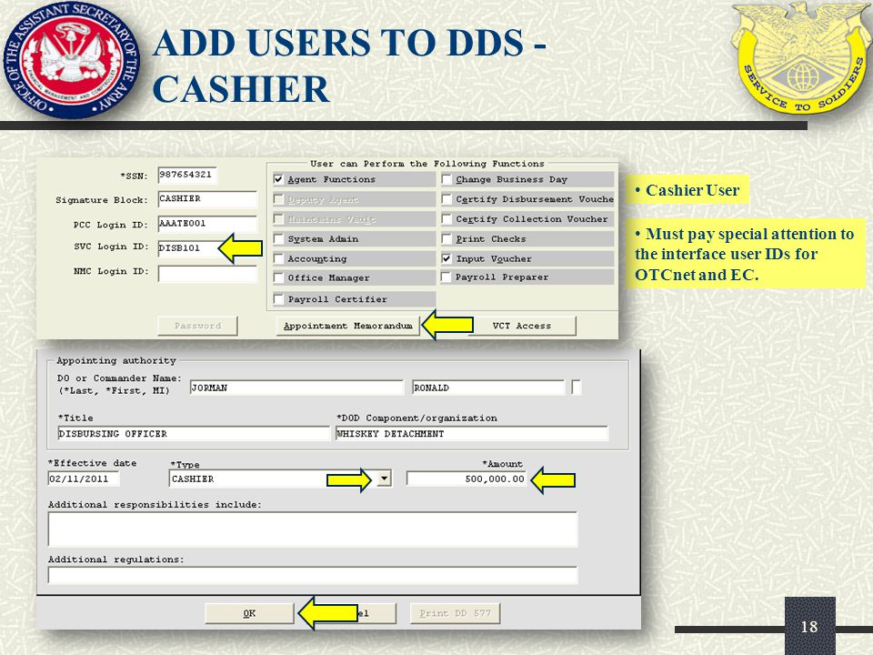 ADD USERS TO DDS - CASHIER