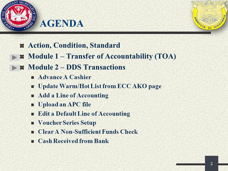 agenda Action, Condition, Standard