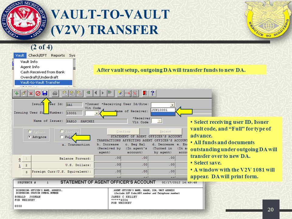 VAULT-TO-VAULT (V2V) TRANSFER