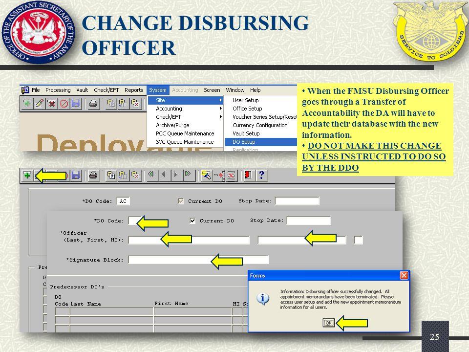 CHANGE DISBURSING OFFICER