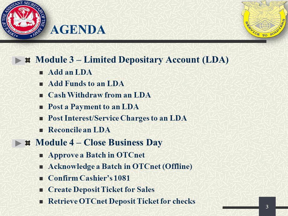 agenda Module 3 – Limited Depositary Account (LDA)