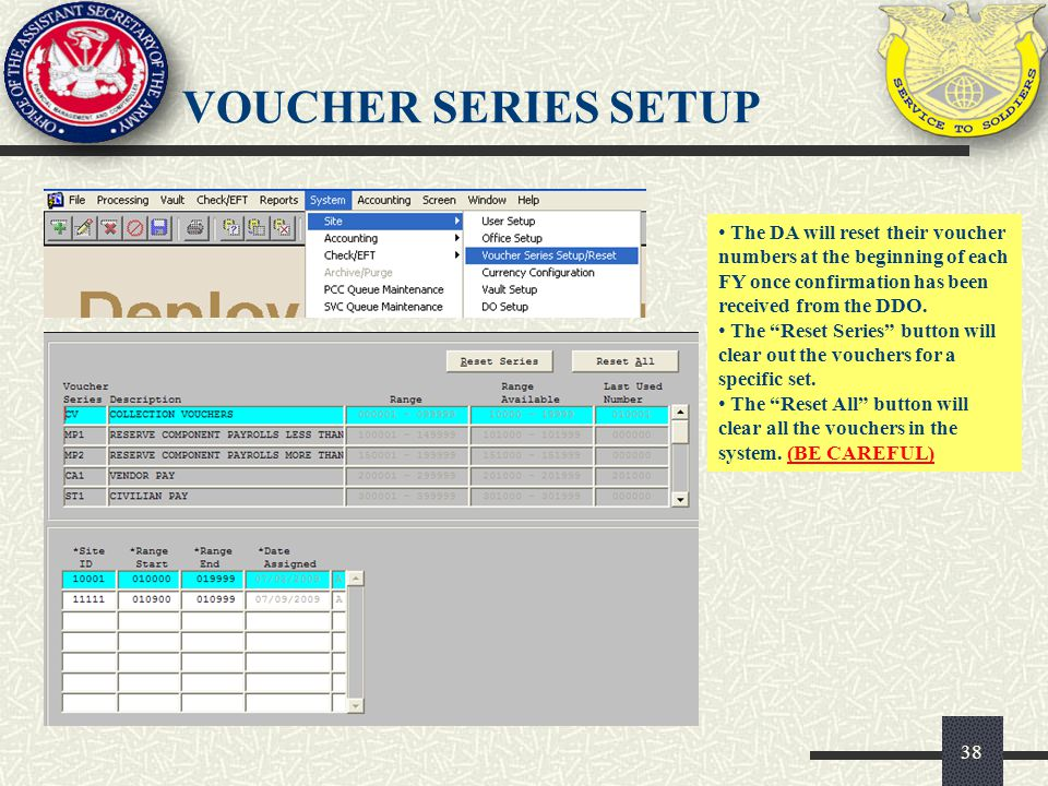 VOUCHER SERIES SETUP The DA will reset their voucher numbers at the beginning of each FY once confirmation has been received from the DDO.