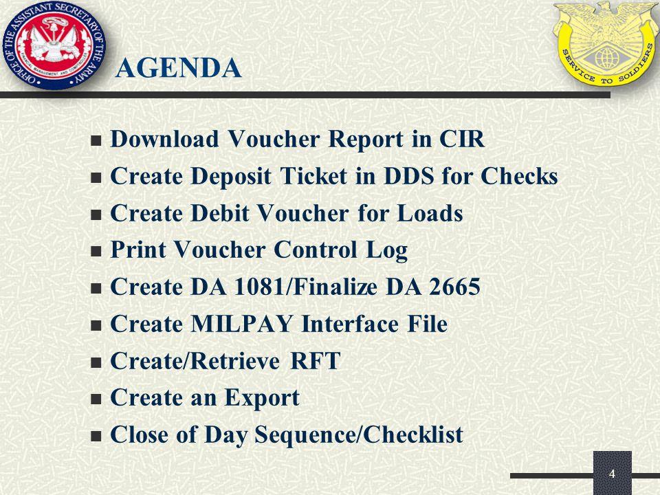 agenda Download Voucher Report in CIR
