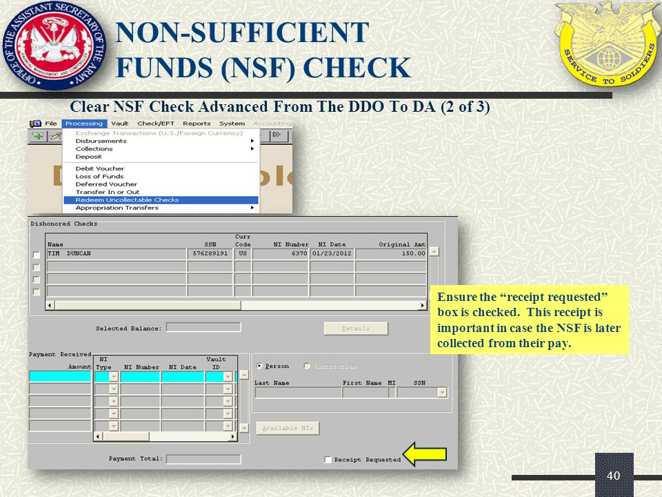 NON-SUFFICIENT FUNDS (NSF) CHECK