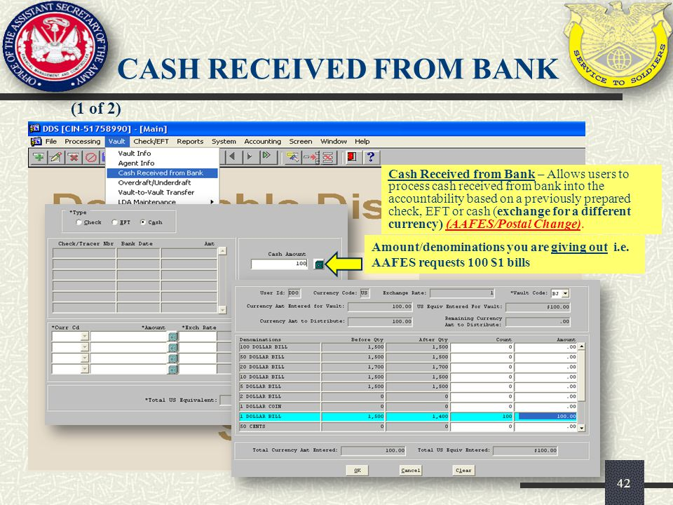 CASH RECEIVED FROM BANK