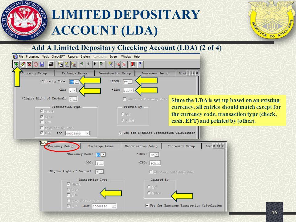 LIMITED DEPOSITARY ACCOUNT (LDA)