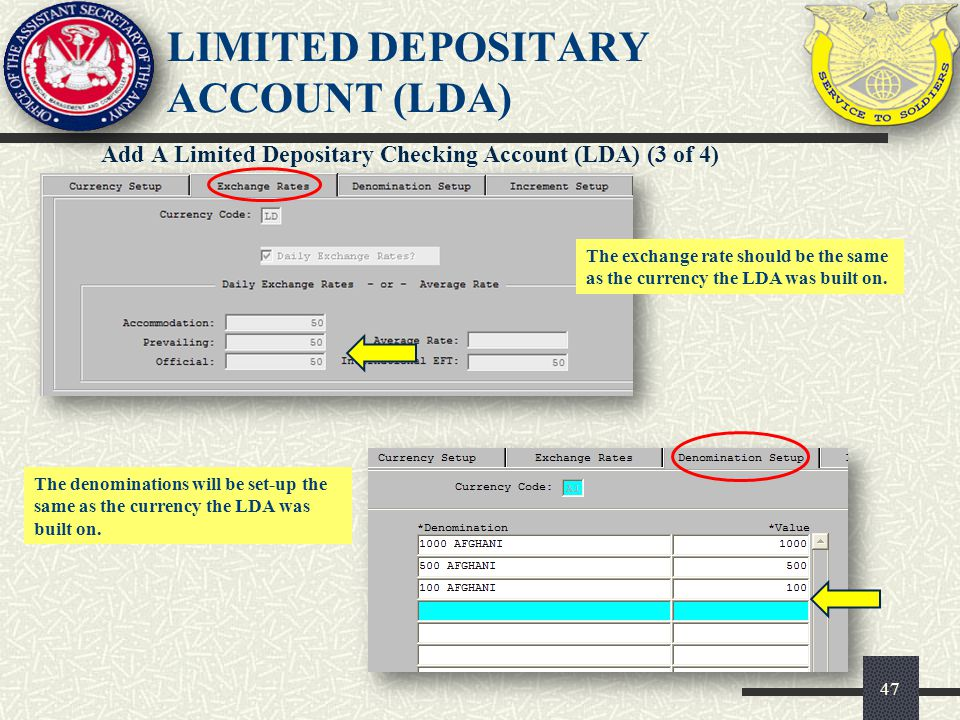 LIMITED DEPOSITARY ACCOUNT (LDA)