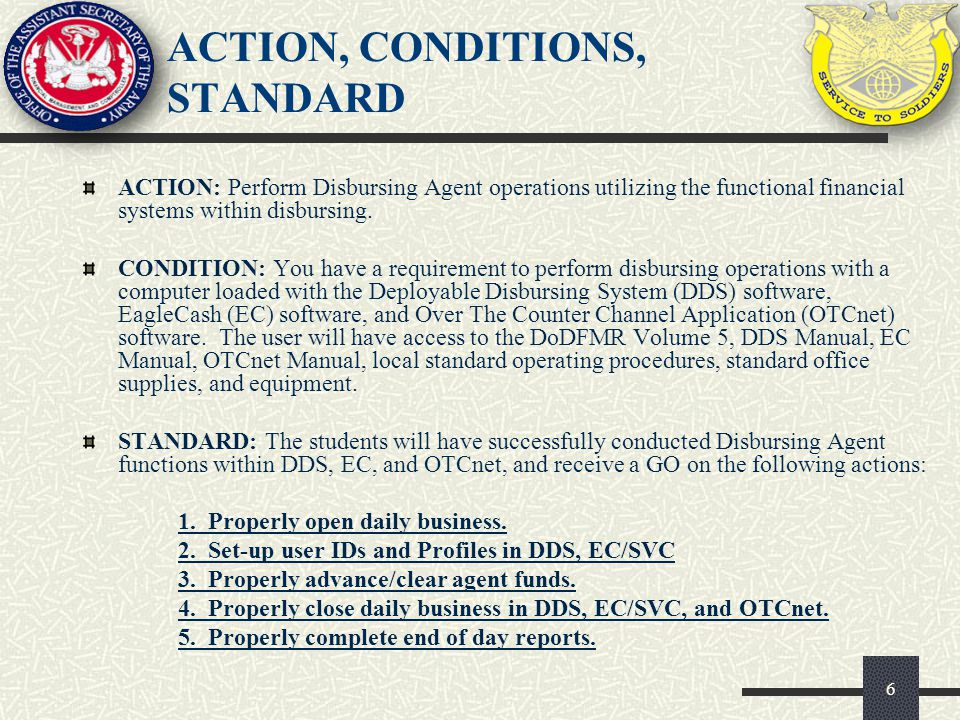 ACTION, CONDITIONS, STANDARD