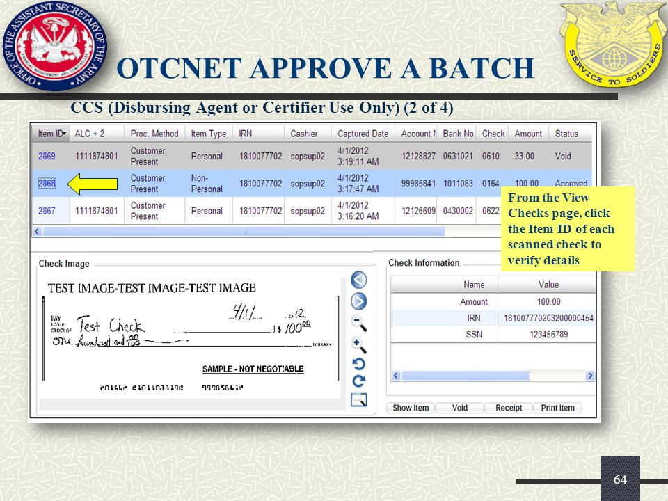 OTCnet APPROVE A BATCH CCS (Disbursing Agent or Certifier Use Only) (2 of 4)