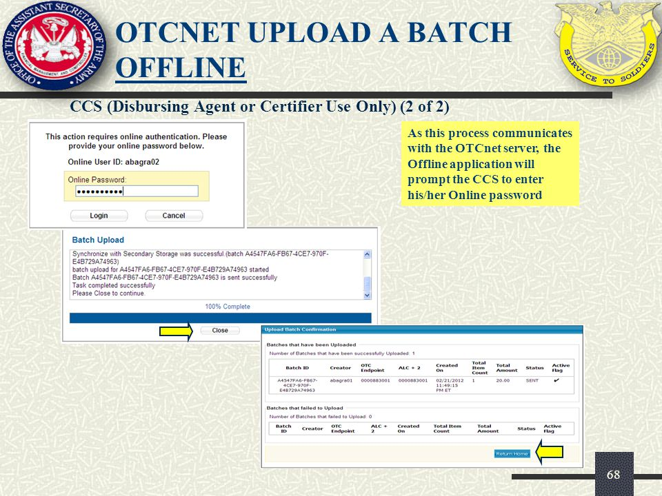 OTCnet UPLOAD A BATCH OFFLINE