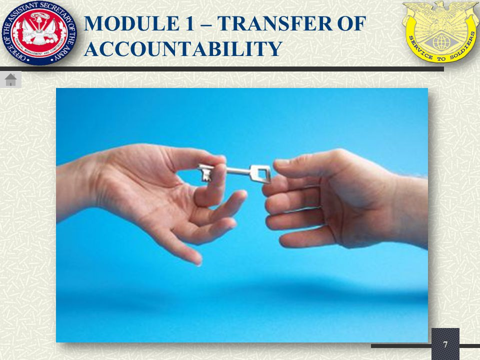 MODULE 1 – TRANSFER OF ACCOUNTABILITY