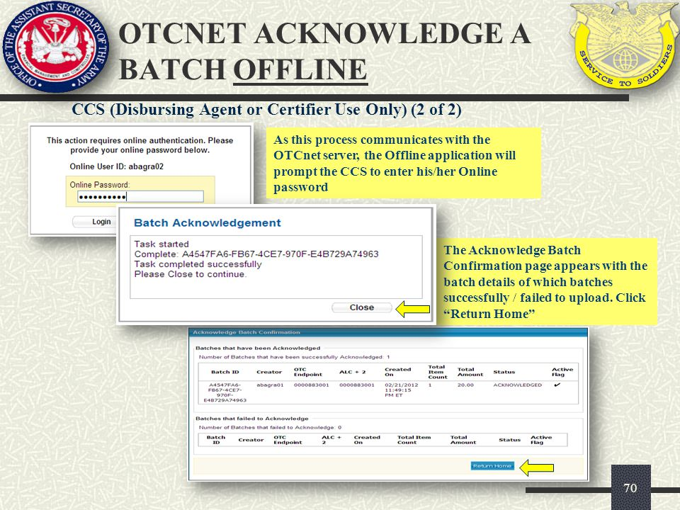 OTCnet ACKNOWLEDGE A BATCH OFFLINE